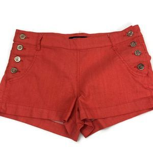 Forever 21 Orange Red Side Button Up Shorts